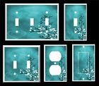 BLUE GREEN HEART AND LEAVES CONTEMPORARY DECOR  LIGHT SWITCH COVER PLATE