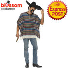 CA191 Authentic Striped Mexican Poncho Wild West Cowboy Spanish Mexico Costume
