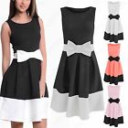 NEW LADIES BOW MIDI SKATER DRESS WOMENS BLACK CONTRAST LOOK SKIRT DRESSES TOP