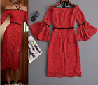 Occident ruwnay fashion a word shoulder cultivate one's morality red lace dress