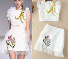 17 Occident runway white embroidered top+falbala adornment short skirt hot suit