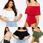 New Sexy Women Off-shoulder Ruffles Jumpsuit Sleeveless Solid Casual Club Tops