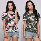 New Fashion Women Casual O-Neck Short Cuffed Sleeve Camouflage Pullover N98B