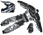 Kids Wulfsport Kit MX Motocross Set Quad Karting Suit camo & Green Gloves Helmet