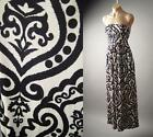 Ikat Henna Tribal Tattoo Print Empire Waist Tube Long Maxi 137 mv Dress S M L