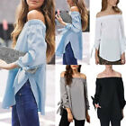 UK Fashion Women Summer Loose Casual Off Shoulder Shirt Tops Blouse Ladies Tops