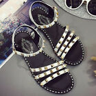Women's Casual Beach Round Toe Ankle Strap Fashion Studded Rivets Sandal shoes