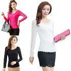 Women Lady Slim Lace Floral Long Sleeve T Shirt Blouse Top HF