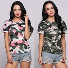 New Fashion Women Casual O-Neck Short Cuffed Sleeve Camouflage Pullover B20E01