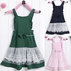 Baby Girl Kids Children's Wear Sleeveless Lace Bowknot Overalls Dresses B20E