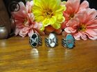 Silver Plated Turquoise Chip Butterfly Fashion Ring