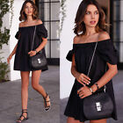 Ladies Fashion Irregularity Boat Neck Dress Off Shoulder Casual Short Mini Dress