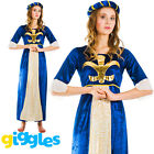 Adult Medieval Maiden Womens Outfit Fancy Dress Costume Maid Marion Tudor Juliet
