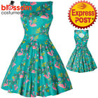 RKL54 Lady Vintage London Summer Flamingo Tea 50s Dress Retro Vintage Rockabilly