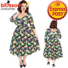 RKL55 Lady Vintage London Marcella Flamingo 50s Dress Retro Vintage Rockabilly