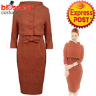 RKB58 Lindy Bop Maybelle Caramel Wiggle Dress Jacket Vintage Rockabilly Brocade