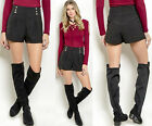 Sailor Style Fitted High Waisted Pleated Pocket gold button Mini Shorts Pants