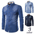 Newest Quality New Mens Blue Denim Shirt Long Sleeve Casual Classic Western