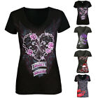 Summer Women Cool Skull Print V Neck Summer Short Sleeve Outdoor Blouse T-Shirt