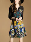 Spring fashion Womens 3/4 Sleeve High-end Stitching printing Prom Loose Dress