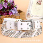 2017 New Women's Fashion Leather Bling Rhinestone Western Belt Waistband Straps