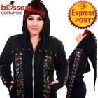 RKN68 Banned Gothic Skull Roses Corset Hoodie Rockabilly Pixie Hooded Top Jacket