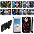 For LG Aristo MS210 LV3 K8/ Fortune Hybrid Heavy Duty Kickstand Case Cover + Pen