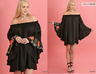 UMGEE S-2X Black Peasant Floral Embroidered Off Shoulder Tunic Top Swing Dress