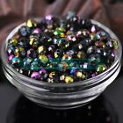 50pcs 8X6mm Faceted Rondelle Opaque Black Lacquer Glass Loose Spacer Beads
