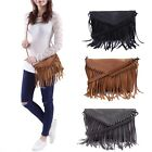 Leather Envelope Fringe Shoulder Bag Tassel Crossbody Handbag Women's Purse