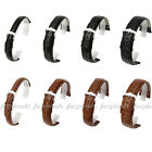 Black/Brown Genuine Leather Watch Band Stainless Steel Buckle Watch Accessories