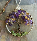Amethyst,Citrine and Peridot Tree of Life Necklace,February, November Birthstone