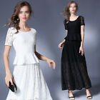 Fashion Womens Short Sleeve Lace Crochet Two-Piece Cocktail Prom Long Dress