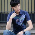 Summer Men's Floral Short Sleeve Dress Shirt Young Boys Slim Basic Tee T-shirt