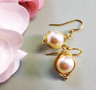 Rose Gold Pearl Earrings ,Wire Wrapped Cream/Ivory Pearl Gold Earrings ONLY