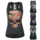 Summer Women's Skull Print Hollow Out T-shirt Crew Neck Sleeveless Tank Top 2017