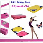 Pink Suede Gymnastics Folding 8ft Balance Beam+3 M Home Training Panel Mat