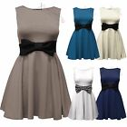 NEW LADIES SLEEVELESS SKATER DRESS WOMENS CONTRAST BOW BELT SKIRT MINI PARTY TOP