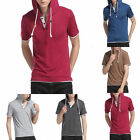 Newest  Men's Hooded T-shirt Korean Casual Hoodie Shirts Short Sleeve Cap Tops