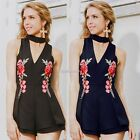 New Fashion Women Halter Deep V-Neck Sleeveless Floral Embroidery Short N98B