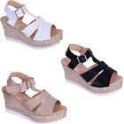 womens ladies wedge high heel summer sandal holiday peeptoe open shoe size