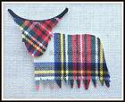 Tw3 - Highland Coo - White  - Tartan -  Fabric - Cut Out  Iron Sew On - Appliqué