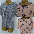 NEW MARKS & SPENCER M&S TOP TUNIC BLOUSE NAVY WHITE PINK PEACH FLORAL 6 - 24