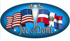 "Dominican Unity Flags Decal Sticker Large 5"" x 10"" Any Text - Name Blue Dominica"