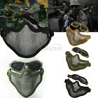 Half Face Tactics Protective Guard Mesh Mask Cover+Glasses fr Airsoft Paintball