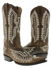 Brown Stitched Embroidered Leather Cowboy Boots Western Rodeo Classic 3x toe
