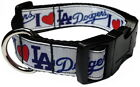 """I LOVE (HEART) DODGERS 1"""" PERSONALIZED PET DOG COLLAR"""