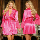 Plus Size Lingerie OS 1X-2X or 3X-4X Charmeuse Lace Pink or White Robe SOHX20567