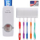 US Automatic Toothpaste Dispenser + 5 Set Toothbrush Holder Wall Mount Stand