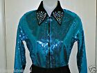 Plus Size Turquoise Sequin Western Rail, Pleasure, Rodeo,Trail, & Glamour Shirt